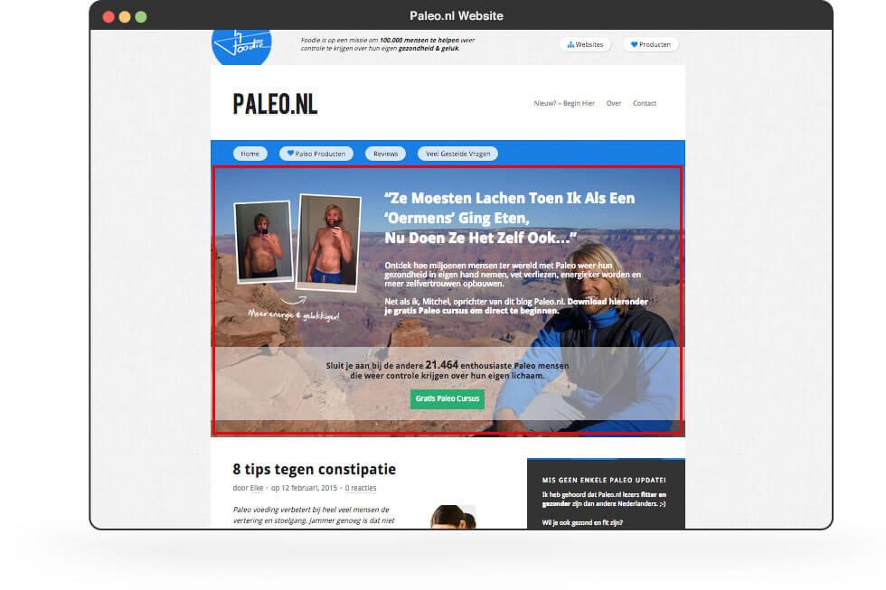 De website van Paleo.nl met een featurebox die zorgt voor verdubbeling van de inschrijvingen.