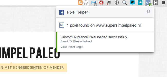 Facebook Retargeting Pixel checken met behulp van de Pixel helper in Chrome.