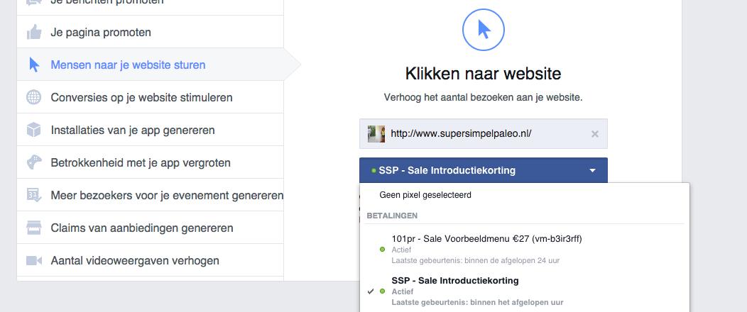 Selecteer een conversiepixel binnen Facebook om bij te houden of je advertenties goed converteren.