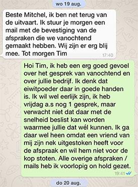whatsapp gesprek over het verkopen van mijn bedrijf